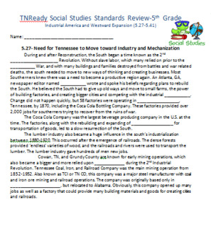 Part 1 TN Ready Social Studies Review- 5th Grade