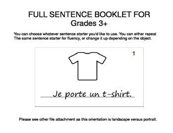 Clothing / Vetements FRENCH Workbook