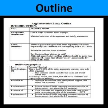 Part 2--ELA Common Core Regents--Argumentative Essay Lessons, Outline, & Editing