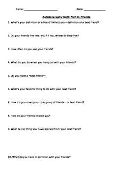 Part 2 (Friends)- Autobiography Questions/ Outline/ Organizer