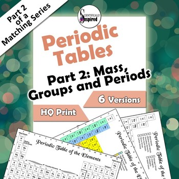 Part 2: Periodic Tables - Mass, Groups  (6 versions, poster size included)