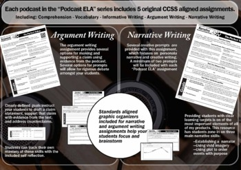"""Part 3 -""""Colors"""" by Radiolab - 5 Podcast Assignments -Targets 5 ELA Strands CCSS"""