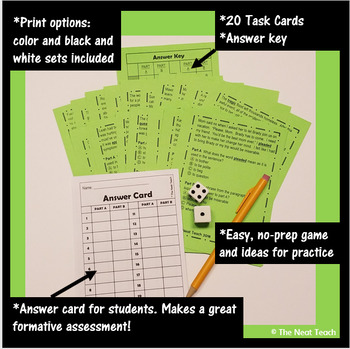 Part A/Part B Context Clues Task Cards 4th Grade