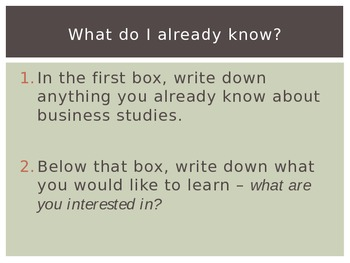 Part One of Introductory Business Studies Course