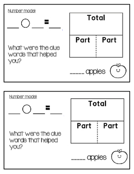 Part Part Total / Whole Number Stories Printable Review Book