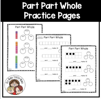 Part Part Whole Activity Sheets with Number Bonds, Ten Frames and Cubes