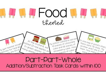 Part-Part-Whole Addition/ Subtraction Word Problems within 100 (Food Theme)
