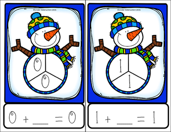 Part Part Whole Addition Write and Wipe Cards Center/Activity; Snowman Edition