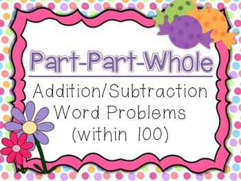 Part Part Whole Addition/Subtraction Word Problem Task Cards (Within 100)