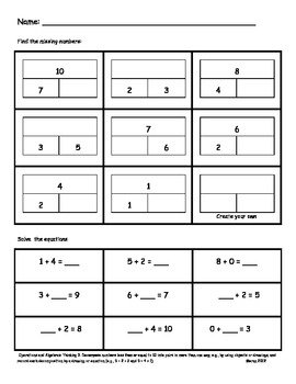 Part Part Whole Assessments or Worksheets by Melissa Moran ...