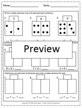 Part Part Whole Box addition assessment