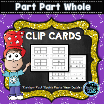 Part Part Whole Frame Clip Cards - Doubles, Near Doubles, Rainbow Facts