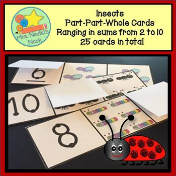 Part Part Whole Number Cards - Insects Theme