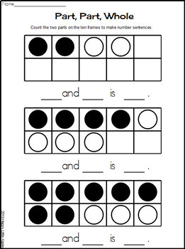 Part, Part, Whole Joining Numbers - Making Number Sentences (Black Line)