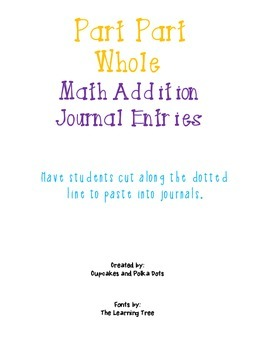 Part Part Whole Math Addition Word Problem- Journal Entries