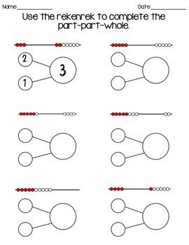 Part Part Whole + RekenRek/Mathrack Worksheet