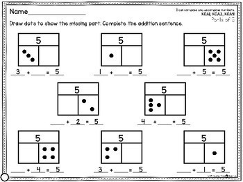 Part Part Whole Missing Addend Common Core Math Work Station Sheets