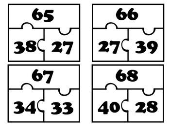 Part Part Whole Puzzles #'s 1-100 Common Core Aligned
