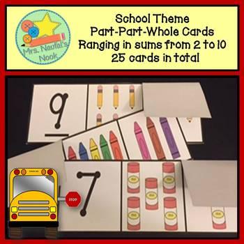 Part Part Whole Number Cards - School Theme
