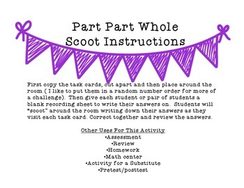 Part Part Whole Scoot {Task Cards}