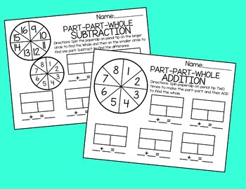 Part Part Whole Spinner Game Activity Addition or Subtraction