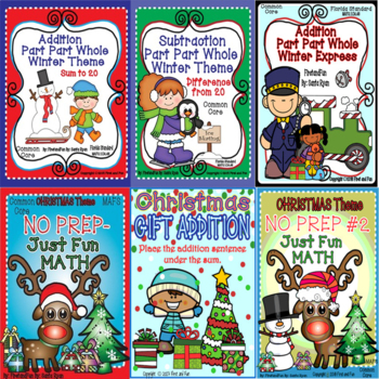 Part Part Whole -Add/Subtract to 20 Winter/Christmas Bundle MAFS Common Core