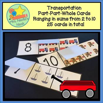 Part Part Whole Number Cards - Transportation Theme