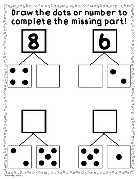 Part Part Whole Worksheets: Dot Patterns and Numerals {NO PREP} Packet