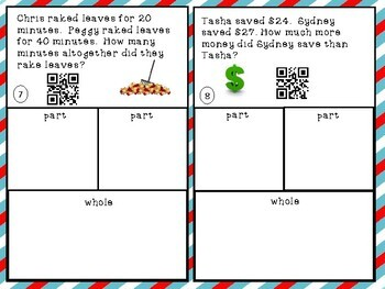 PART PART WHOLE WORD PROBLEMS with unknowns - 2nd grade math
