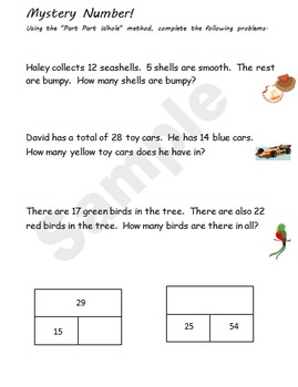 Part Part Whole Worksheet Packet
