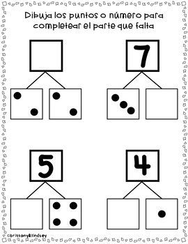 Part Part Whole: dot patterns and numerals - Spanish {NO PREP} Packet