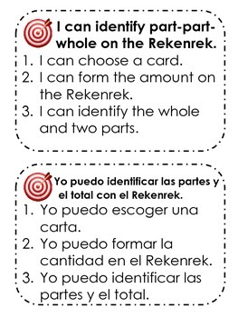Part-Part-Whole on the 20 Bead Rack or Rekenrek with Bilingual Prompts