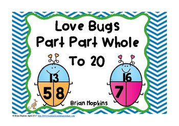 Part Part Whole to 20 Love Bug Task Cards