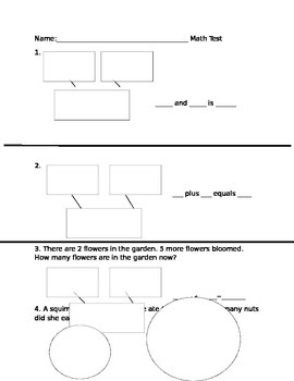 Part Part whole map, number bond, and addition word problem math assessment