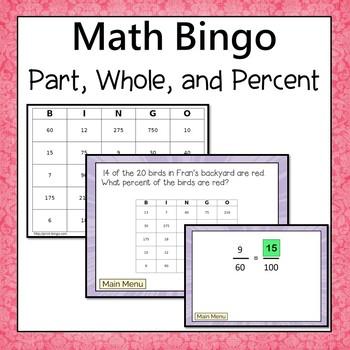 Part, Whole, and Percent Bingo