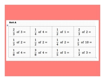 Part of A Whole Fraction Multiplication Sort