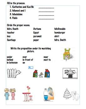 Part of Speech Review 1st Grade