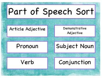 Part of Speech Sort