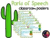 Part of Speech Wall Posters Cactus theme Grammar