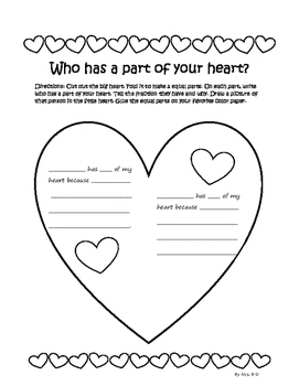 Part of Your Heart Fraction Art and Writing Activity