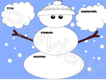 Part of a Story Graphic Organizer Snowman Printable and Digital