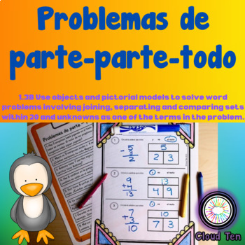 Part part whole word problems Spanish