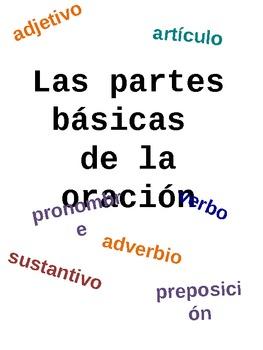 Partes Básicas De La Oración - Basic Parts of Speech - Spanish