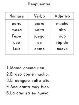 Partes de la oración - Nombre, verbo, adjetivo - Formando oraciones