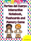 Partes del Cuerpo Interactive Notebook, Flashcards and Memory Game