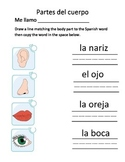 Partes del Cuerpo Matching and Writing Activity
