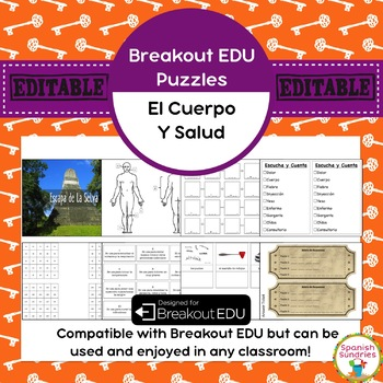 Partes del Cuerpo / Salud Breakout EDU Puzzles