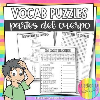Partes del Cuerpo Vocab Puzzles | Body Parts | Word Search and Crossword