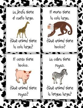 Los animales - ¿Qué animal tiene...? - Partes del cuerpo - Card Game