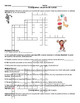 Partes del cuerpo parts of the body Crossword Puzzle